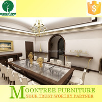 Moontree MDT-1174 home furniture 8 seaters glass wooden dining table