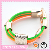 2015 Most Fashion Charming Lucky Pu Leather Customized Bracelet
