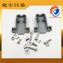 High quality grey plastic shell D-sub 9 pin DB9 DB15 connector hoods cover with screws