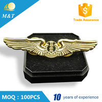 Promotional hot selling gold plated captain pilots wings badge