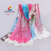 Lingshang accessories women scarf 2015 new design long shawl scarves cape silk chiffon tippet muffler