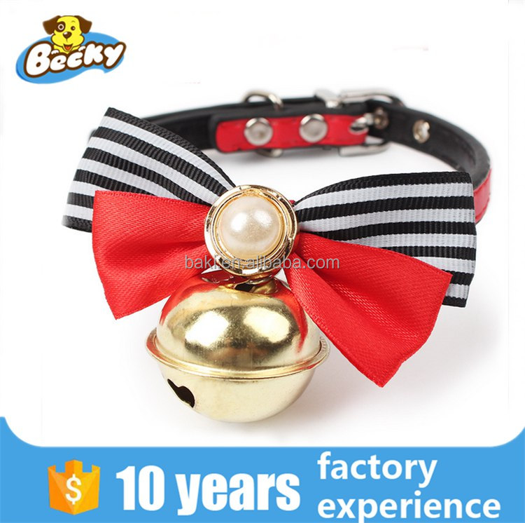 Wholesale Cheap Durable Bow Tie Pearl Bell Cat Collar