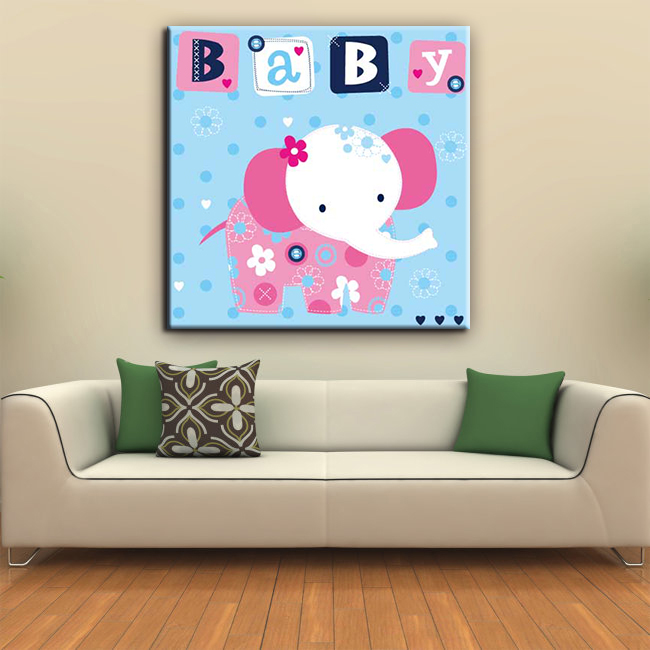 Little elephant cartoon picture cheap house painting 60x60 canavs