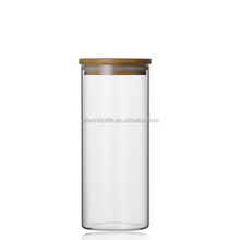 2100ml Hot Sale cylinder shaped glass jar wooden lid /Best selling airtight clear glass jar wooden lid
