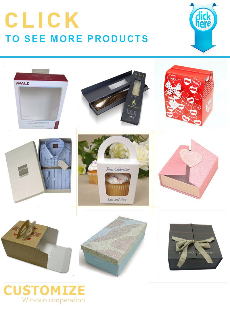 paper box Drawer Type and Accept Custom Order Hair Extension Packaging With Pvc Window