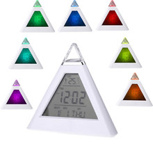 New 7 LED Color Pyramid Digital LCD Alarm Clock Thermometer PTSP Desktop Table Clocks Weather Station Digital LCD Alarm Clock