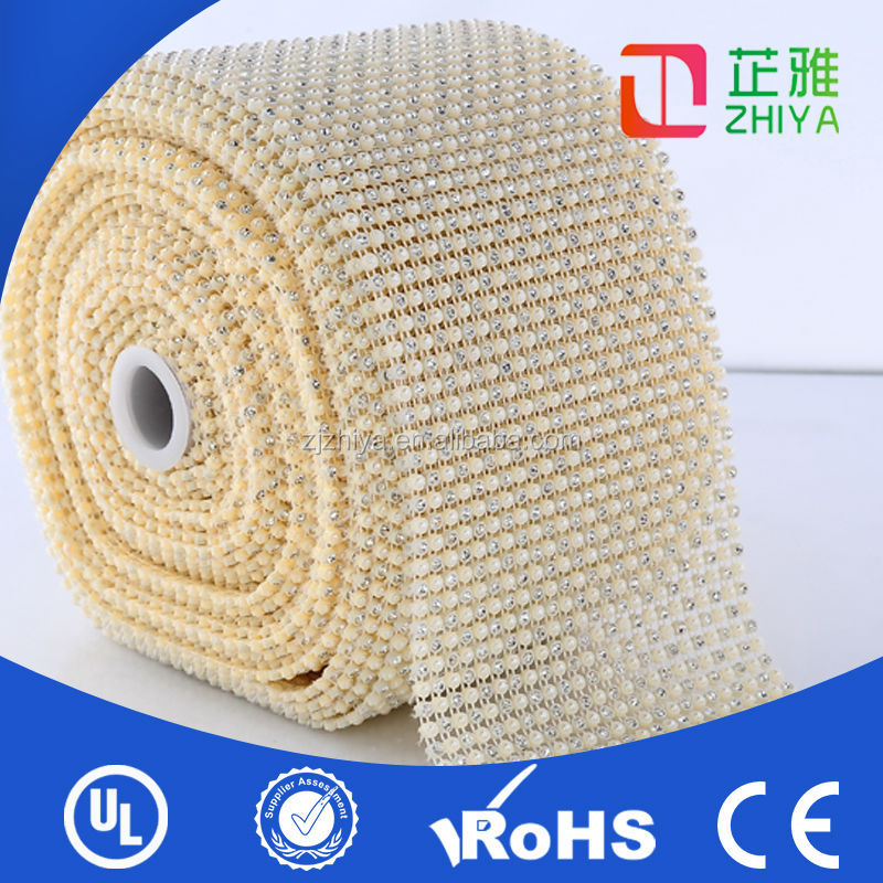 24 Lines trimming stripping hot fix plastic mesh with crystal rhinestone