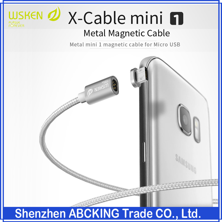 HOT Sell Original Wsken Mini1 Series Metal Magnetic Cable Fast Data Charging Cable For iphone / Micro USB 2.0 Android Phone