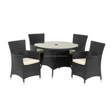 Classic Garden/ Outdoor furniture Rattan DIA105cm Round Dining Table with 4 Chairs