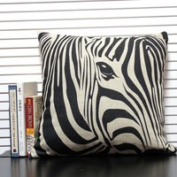 wholesale custom digital print sublimation zebra cushion cover pillow case