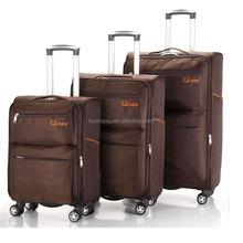 leisure style soft suitcase nylon 3 piece set luggage trolley bag