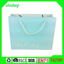 2016 blue color 300gsm folding paper shopping bag