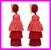 KDA4950 factory supply wholesale handmade red silk tassel earrings