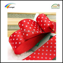 OEKO-TEX100 wholesale dots printed polyester satin ribbon for gift packaging