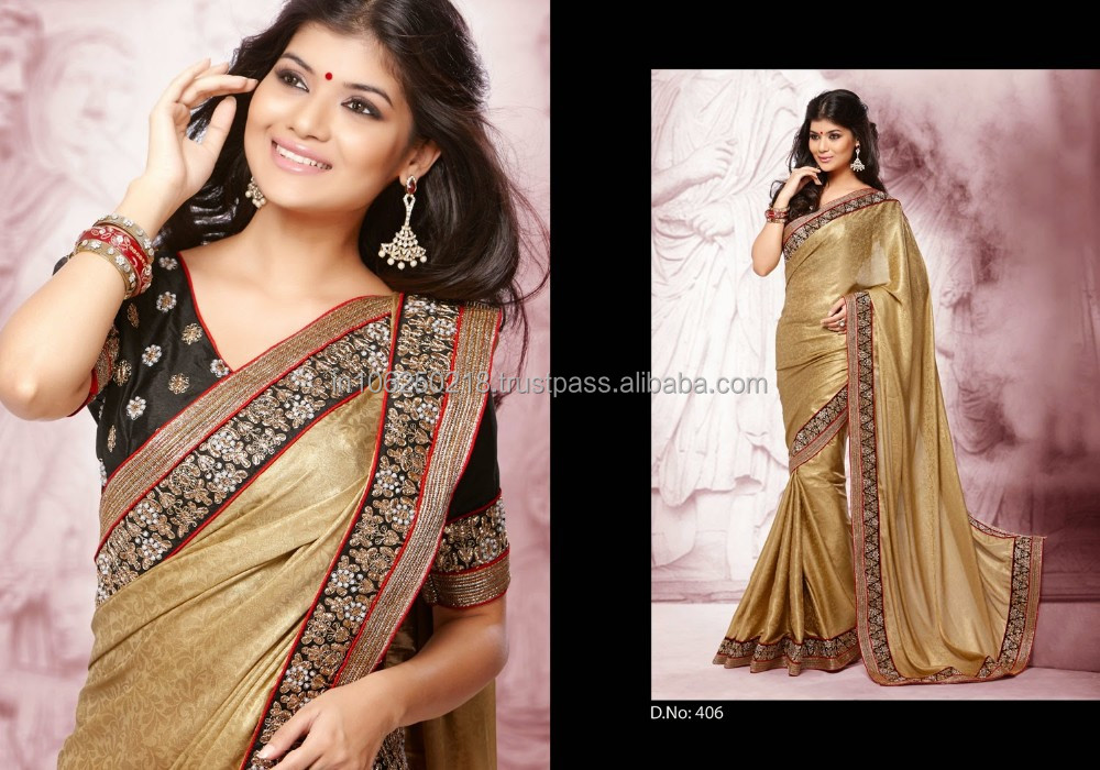 Indian Heavy Design Work Saree From India R7626