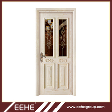 Arch wood door with wooden mosquito net door design in wood doors polish color