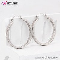 90277 Xuping 2016 Fashion Silver Color Bulk Hoop Earring
