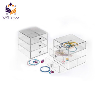 China wholesale 3 levels transperant acrylic little jewelry box