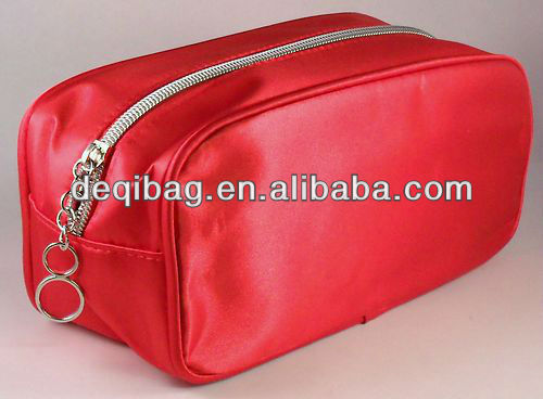 Fashion Evening costmetic travel bag Red Satin Makeup Bag hot sale