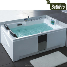 Acrylic computer control 2 person sex massage jet whirlpool bathtub with tv with pillow