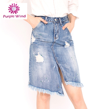 2017 Summer Fashion basic girls denim skirt