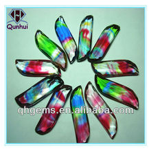 Colorful glass leaves shaped cz stone jewelry