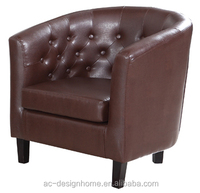 BROWN, BLACK, RED, WHITE 1 SEAT PU LEATHER/WOODEN TUB ARMCHAIR W/RUBBER WOOD LEGS