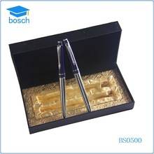 Metal roller pen with leather pen box 24 piece gel ink pen set