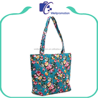 Custom sublimation cotton canvas ladies shopping tote bag
