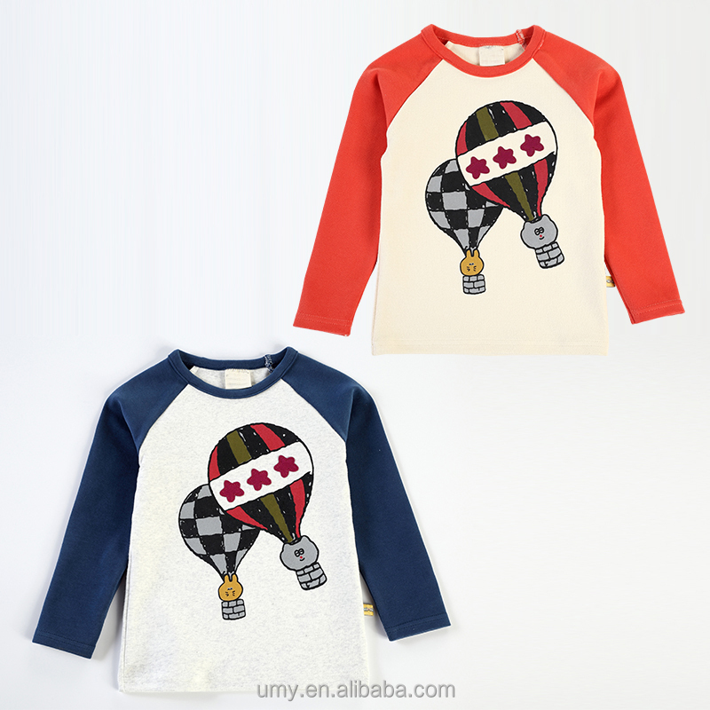 Fire Balloon Printing Long Sleeve Children T-shirt Baby Boy Clothes