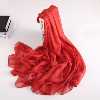 [MAISUN] Girls long red silk scarf