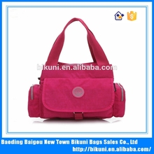 2015 made in China is suitable for ladies the high quality washer wrinkle fabric multi-function more pockets nylon handbag