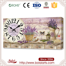 Hot selling lavender and rosemary desk canvas kitchen timer wall clock