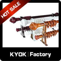 KYOK New design wood grain aluminum alloy curtain poles,double aluminum alloy curtain poles,plastic curtain rings wholesale