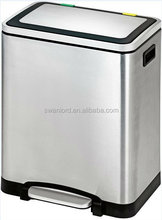 USA Market Stainless Steel Rectangle Garbage Waste Recycle 2 Compartment Bin