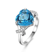 natural gemstone big stone sky blue topaz mill grain 925 silver ring