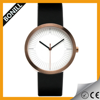 Leather strap stainless steel watch/la manufacture leather watch/big strap leather watch