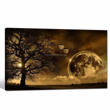 Sunset Landscape Pictures Giclee Print/canvas Art Dusk Under the Tree/winter Scenery Posters