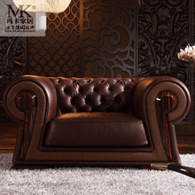 Luxury classic Italian furniture sofa, exclusive Italian leather sofa with wood trim