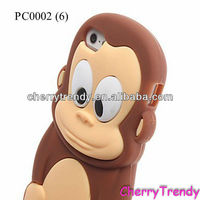 3D Cute Cartoon Design For iPhone 4S/ 5G Silicone Case Cover, Monkey Phone Case, Animal Phone Case