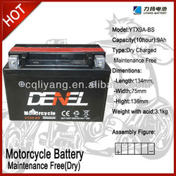 YTX9A-BS Lead Acid Motorcycle Battery (Acid type) for fuel shark