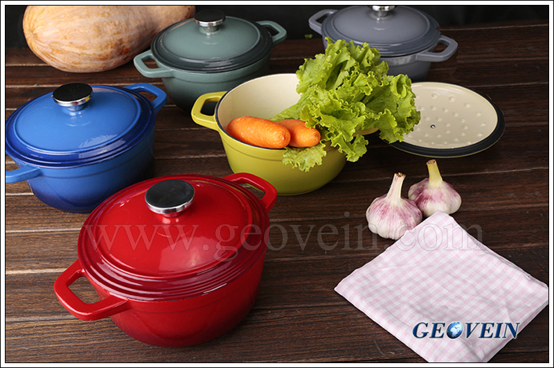 Kitchen cookware covered casserole Dia24cm enamel cast iron cook pot