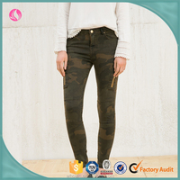 Sexy lady jeans camouflage color ladies tight jeans baggy jeans