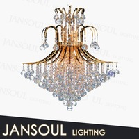 Gold colored fancy pendant light crown decoration crystal chandelier