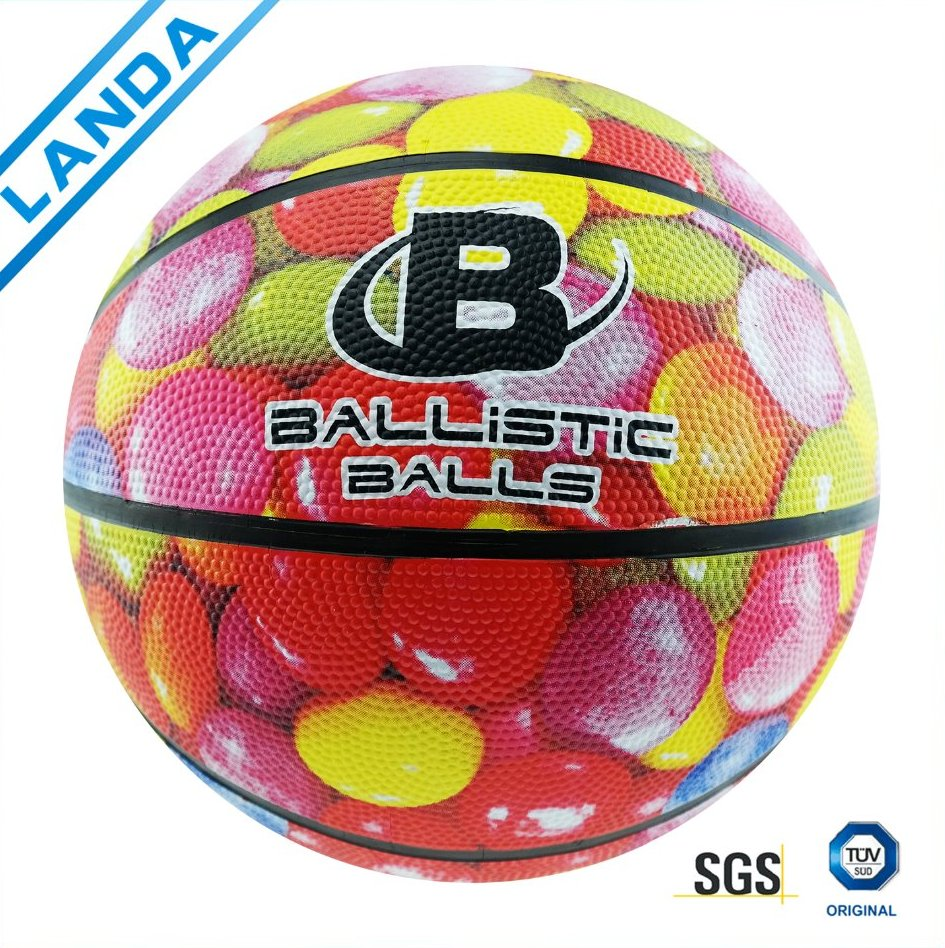 orange/colourful official size 7 rubber basketball