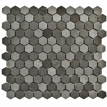 Decorstone24 Nature Andesite Grey Basalt Stone 1 Inch Hexagon Mosaic Tiles Grooved Finish