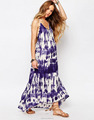 V neck tie dye Bohemia dress, ladies long maxi casual dress ,beach dress