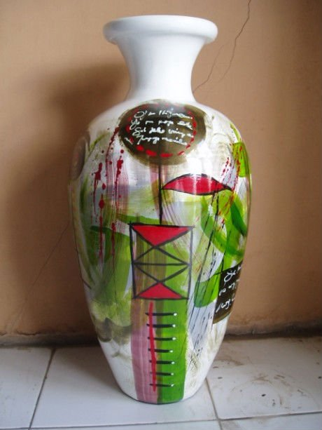 Decorative vase abstract Green-white cello