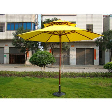 2 layers yellow outdoor patio parasol wood umbrella