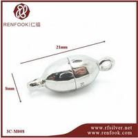 RenFook factory direct sale 925 sterling silver silver oval magnetic clasp 8mm